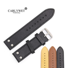 CARLYWET 22mm Black Brown Yellow Real Leather Handmade Replacement Thick Vintage Wrist Watch Band Strap With Polished Buckle