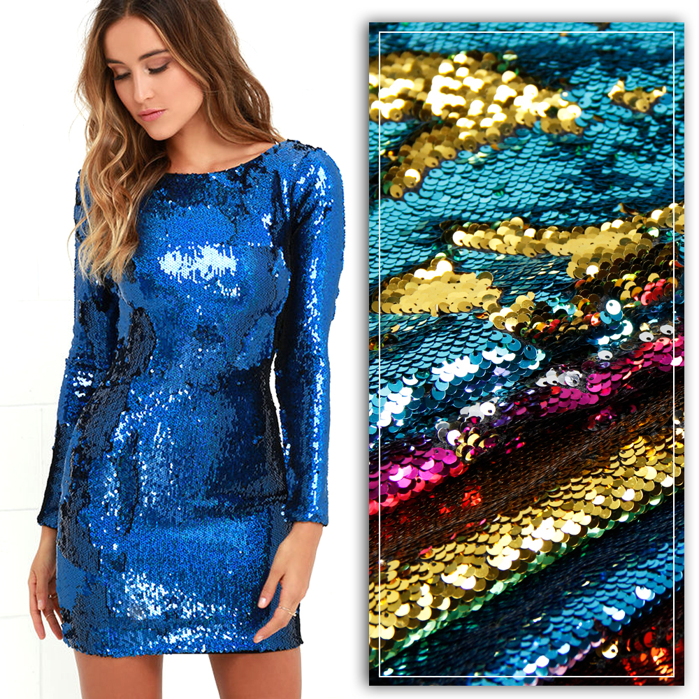 David accessories 50*145cm Mermaid reversible Sparkly color Changeable Sequin Fabric Sheet For Clothes/Part Cushion Decor,c1944