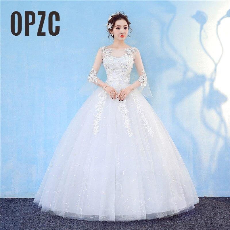 Vestido De Noiva Orgazan Boat Neck Long Sleeve Wedding Dress 2018 New Fashion Lace Elegant Bride Princess Appliques G
