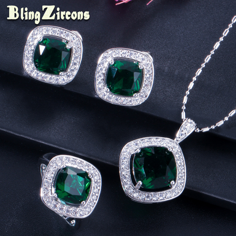 BlingZircons Big Square Green CZ Crystal Paved Clear Cubic Zirconia 925 Sterling Silver Earrings Necklace Ring Jewelry Set JS036