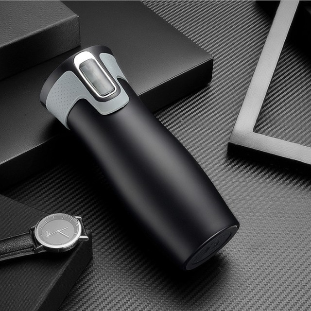 450ml 16oz AUTOSEAL Travel Mug Thermo Coffee Stainless Steel Vacuum Cup Insulated Mugs Water Flask Thermal Tea Bottle Auto Cups