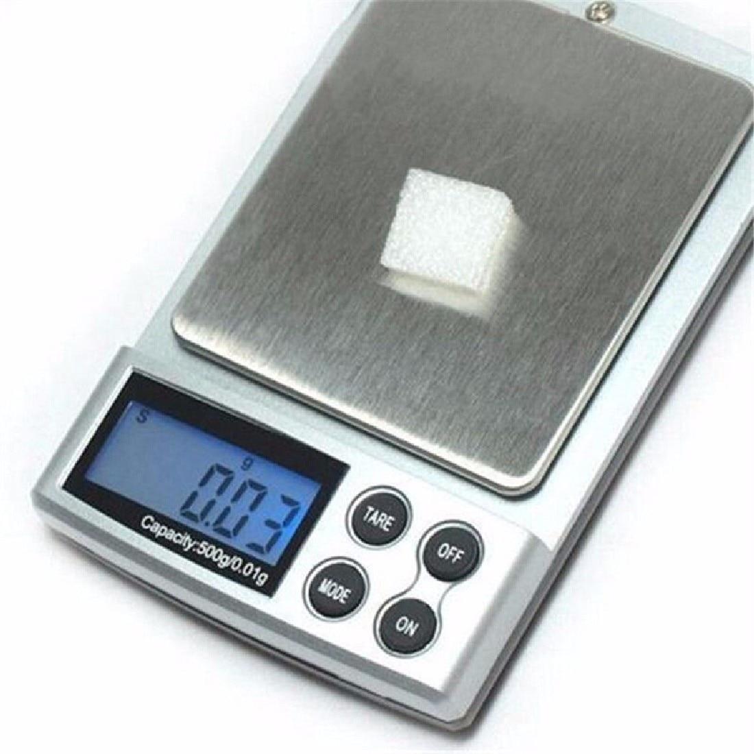 1pc 500g x 0.01g Escala de precisión digital Oro Plata Joyería Básculas de equilibrio de peso Unidades de pantalla LCD Básculas electrónicas de bolsillo
