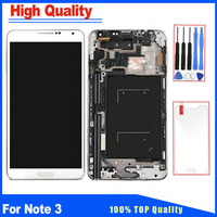 Grey White Color For Samsung Galaxy Note 3 N9005 LCD Display Touch Screen Digitizer With Frame Assembly Replacement Free Glass