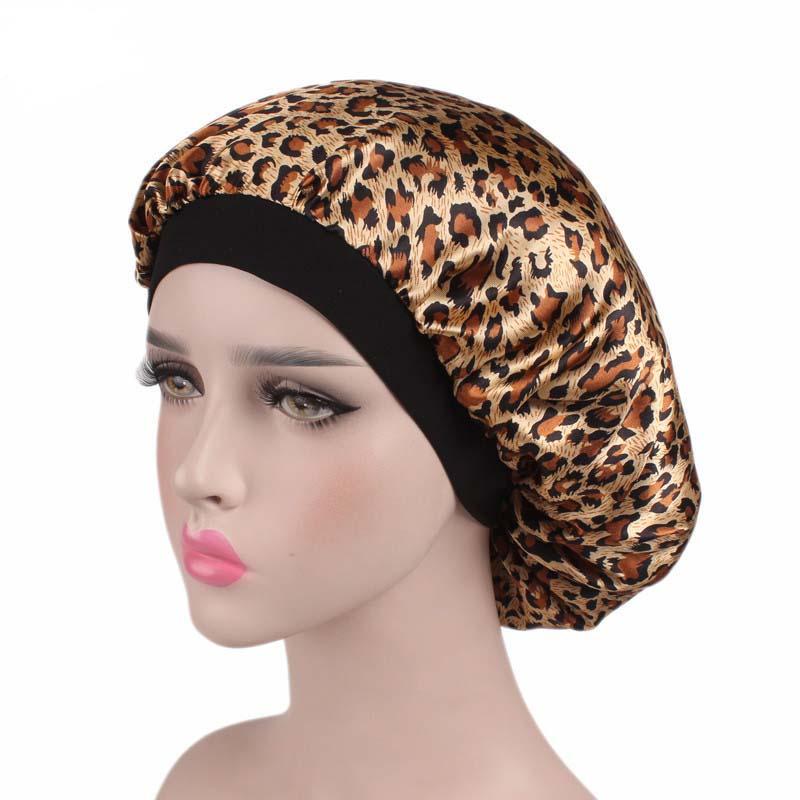 Women Ladies Floral Silk Satin Night Sleep Cap Hair Bonnet Hat Silk Head Cover Wide Elastic Band   Beanies
