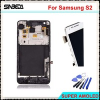 Sinbeda White Black LCD Display For Samsung Galaxy S2 I9100 Touch Screen Digitizer Assembly Replacement With