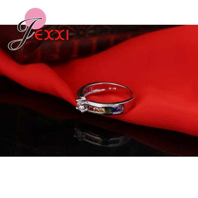 Fashion 925 Sterling Silver Hot Sale Rainbow Engagement Promise Rings For Women High Quality Austrian Rhinestone Jewelry 3