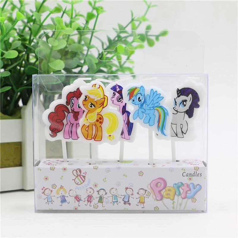 5 Pcsset New My Little Pony Kreatif Lilin Kartun Cetak