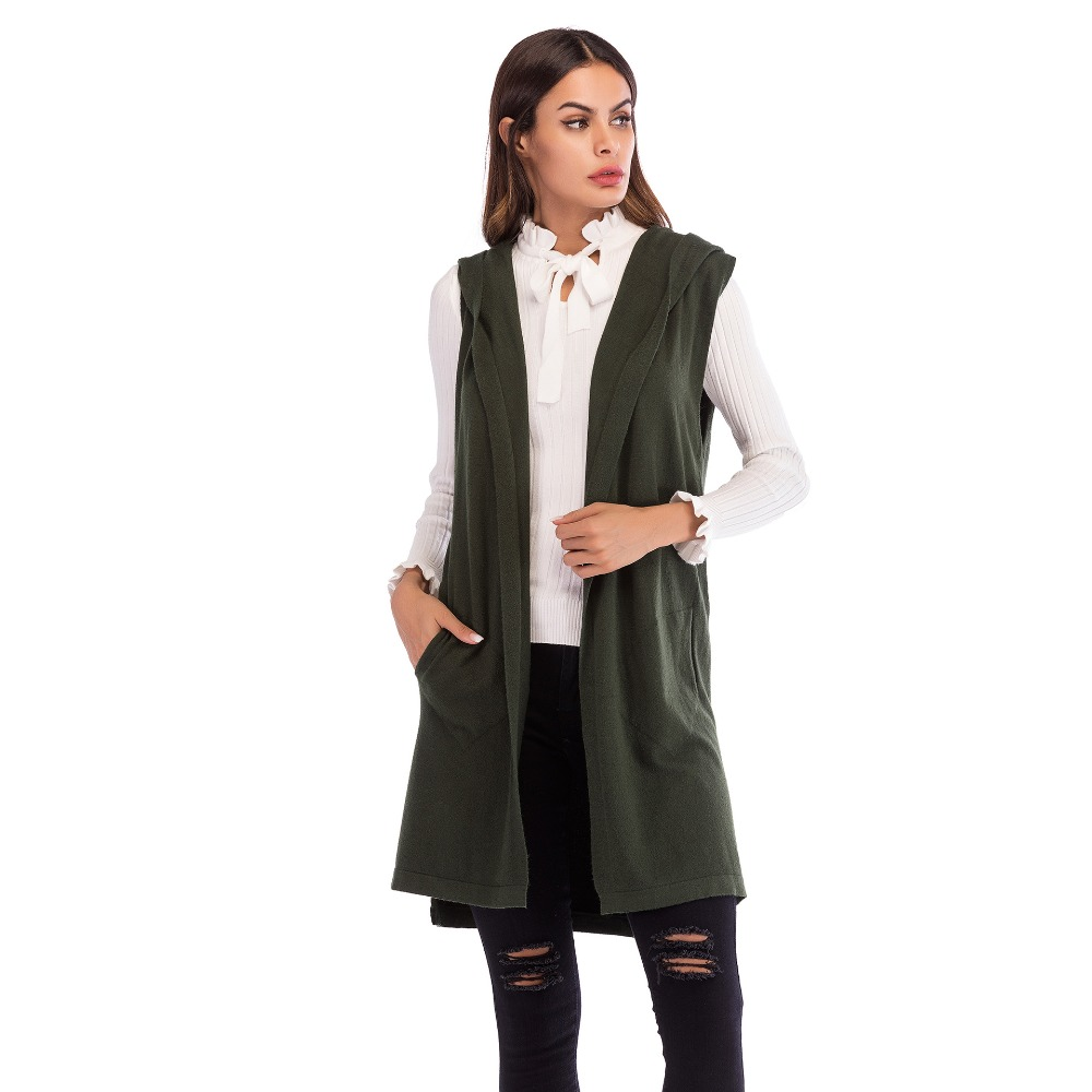 Women Plain Hooded Coats 2018 Autumn Sleeveless Sweater Jacket Solid Vest Knitted Cardigan Female Casual Waistcoat