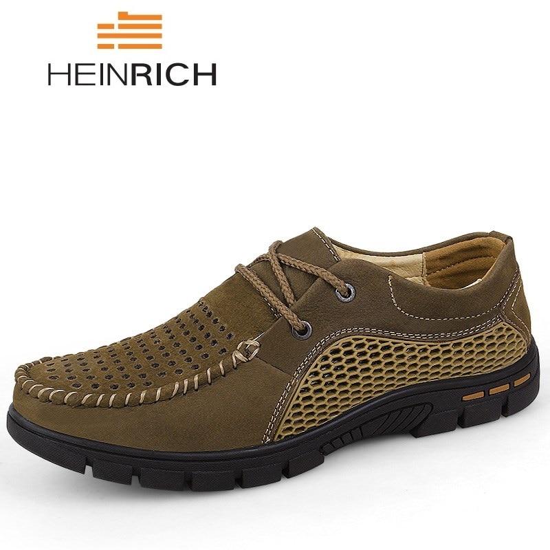 Heinrich Italienische Herren Schuhe Casual Luxury Marke Sommer Männer Faulenzer Echtem Leder Mokassins Comfy Atmungs Boot Schuhe Fabriken Und Minen Schuhe