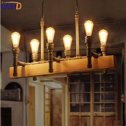 IWHD Iron Water Pipe LED Pendant Lights Industrial Vintage Loft Pendant Lamp Wooden RH Droplight Hanglamp Fixtures Home Lighting iwhd loft retro led pendant lights industrial vintage iron hanging lamp stair bar light fixture home lighting hanglamp lustre