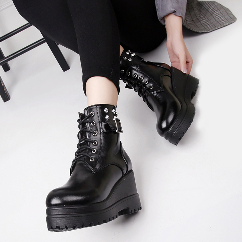 Karinluna New wholesale quality wedge high heels ankle boots shoes woman shoes punk street style buckles boots women