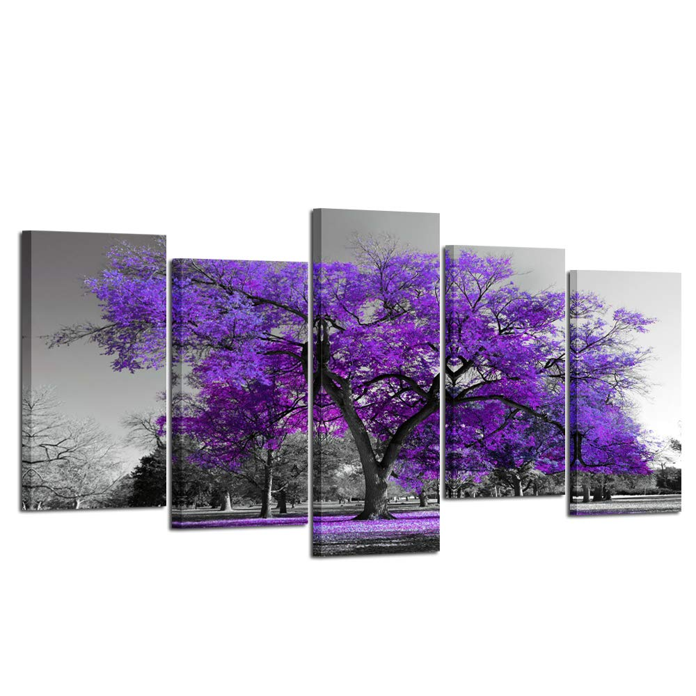 LARGE ABSTRACT WALL ART Picture Black White Purple Canvas Print Split Panel