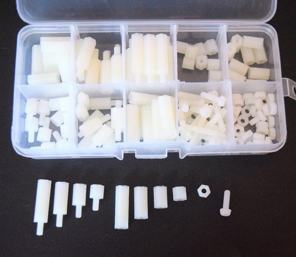 1Set M3 Nylon Hex Spacers Screw Nut Assortment Kit Stand-off Plastic Accessories