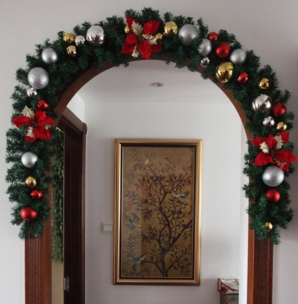 Christmas Leaf Rattan Garland Luxury Bowknot Flower Balls Decorated Thick Mantel Fireplace Xmas Garland Pine Tree 2.7M X 25CM