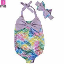 Summer Cartoon Mermaid One Piece Swimsuit Girls Sleeveless Bow Bathing Suit Bikinis Baby Girl Bowknot Swimming Costume Rompers