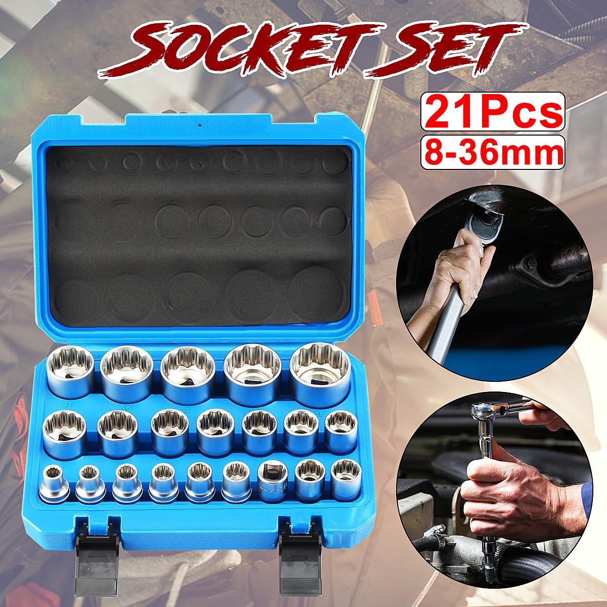 21Pcs 1/2 Inch Drive Shallow 12P Socket Set 8mm - 36mm Garage Workshop Tool21Pcs 1/2 Inch Drive Shallow 12P Socket Set 8mm - 36mm Garage Workshop Tool