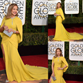 Yellow Mermaid Ruched Long Celebrity Dresses 2016  73th Golden Globe Awards Celebrity Dresses Jennifer Lopez Red Carpet Dress