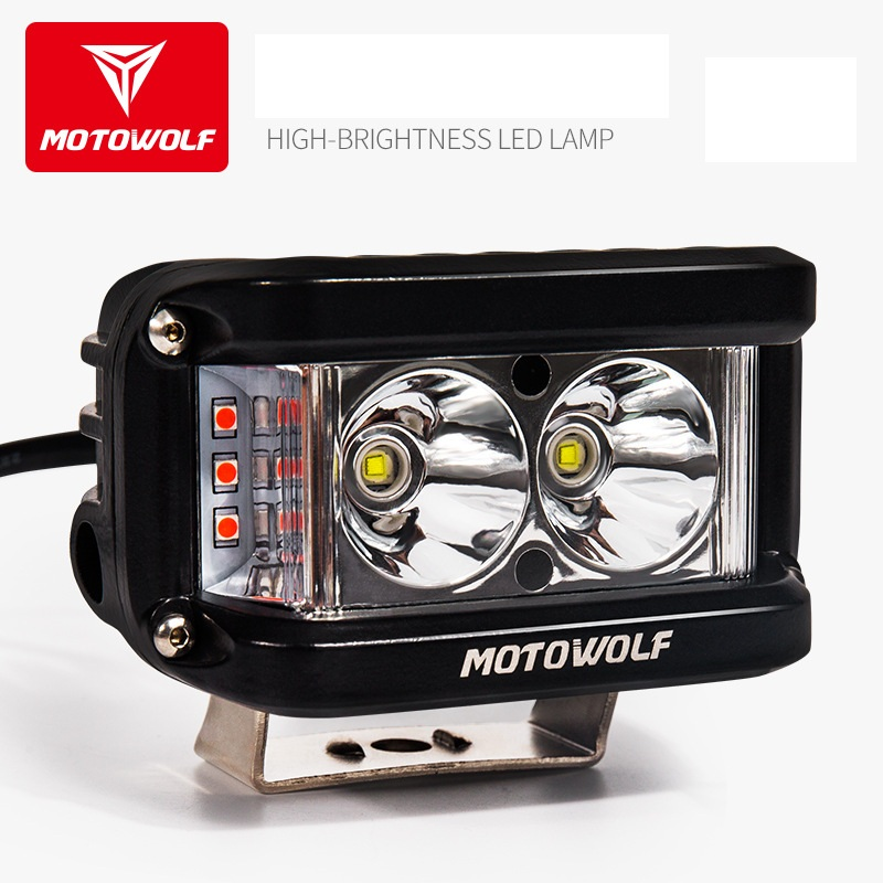 MOTOWOLF 12v-72v 25W LED Spot Light Motorcycle ATV Boat Off Road Waterproof Headlight With Switch And Bracket For Honda Yamaha