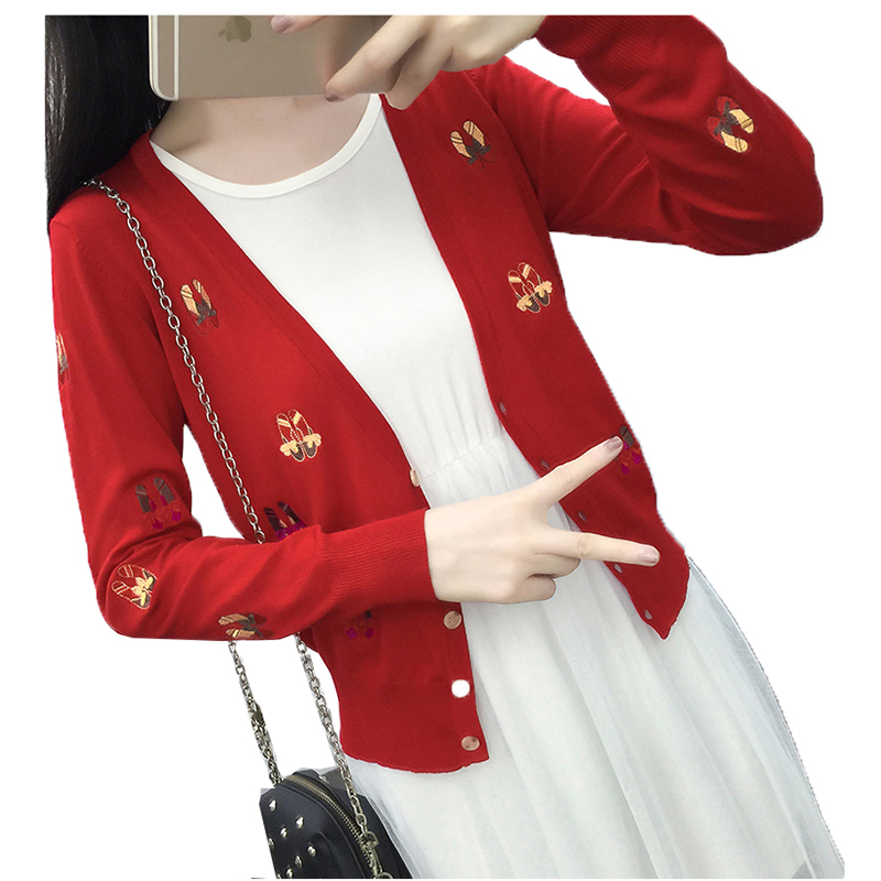 Women knit cardigan shawl 2018 Korean Version Embroidery Cardigan thin V-neck Long sleeves summer hollow sweater Outerwear B003