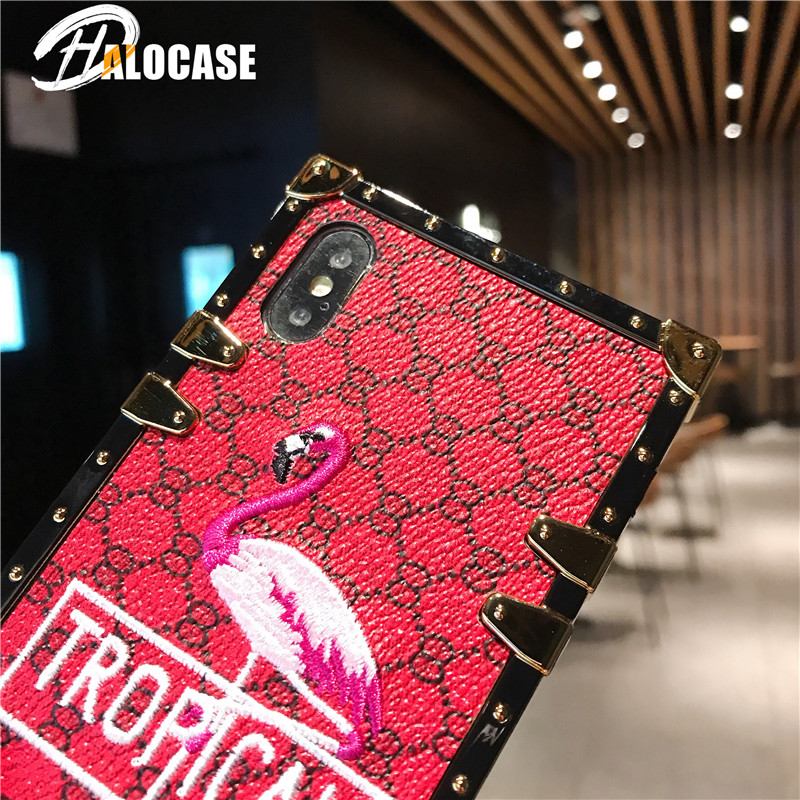 New Luxury 3D Embroidery Lattice Flamingos Case for Samsung S8 S8Plus S9 S9Plus Note9 Glitter Square Phone Cases in Fitted Cases from Cellphones Telecommunications