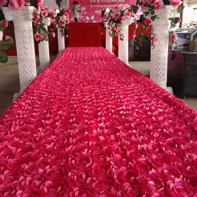 Hot Pink 3d Rose Petal Aisle Runner Carpet 1 4m Wide 10 M Lot