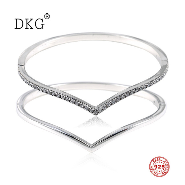 2019 Spring New Real 925 Sterling Silver  Shining Shimmering Wish Europe Bangle Fit Women Bead Charm Bracelet DIY Jewelry