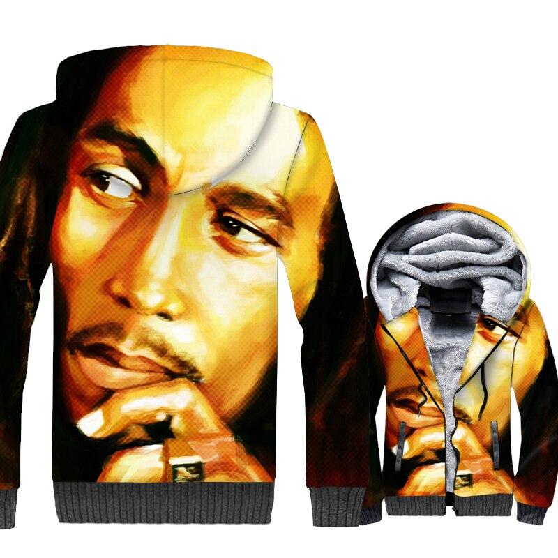 Music Band Punk Rock Jacket Men 3D Print Hoodie Kpop Sweatshirt 2018 Winter Thick Fleece Warm Zipper Coat Hipster Streetwear 5XL