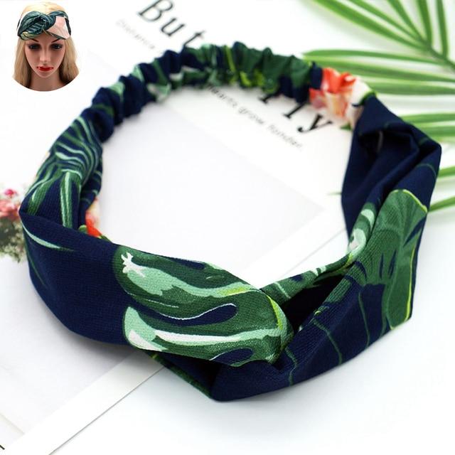 1PC Women s Fashion Vintage Bohemian Sea Beach Flamingo Hairbands Green  Banana Leaf Headband Cross Knot Elastic 6a6fedbaa48