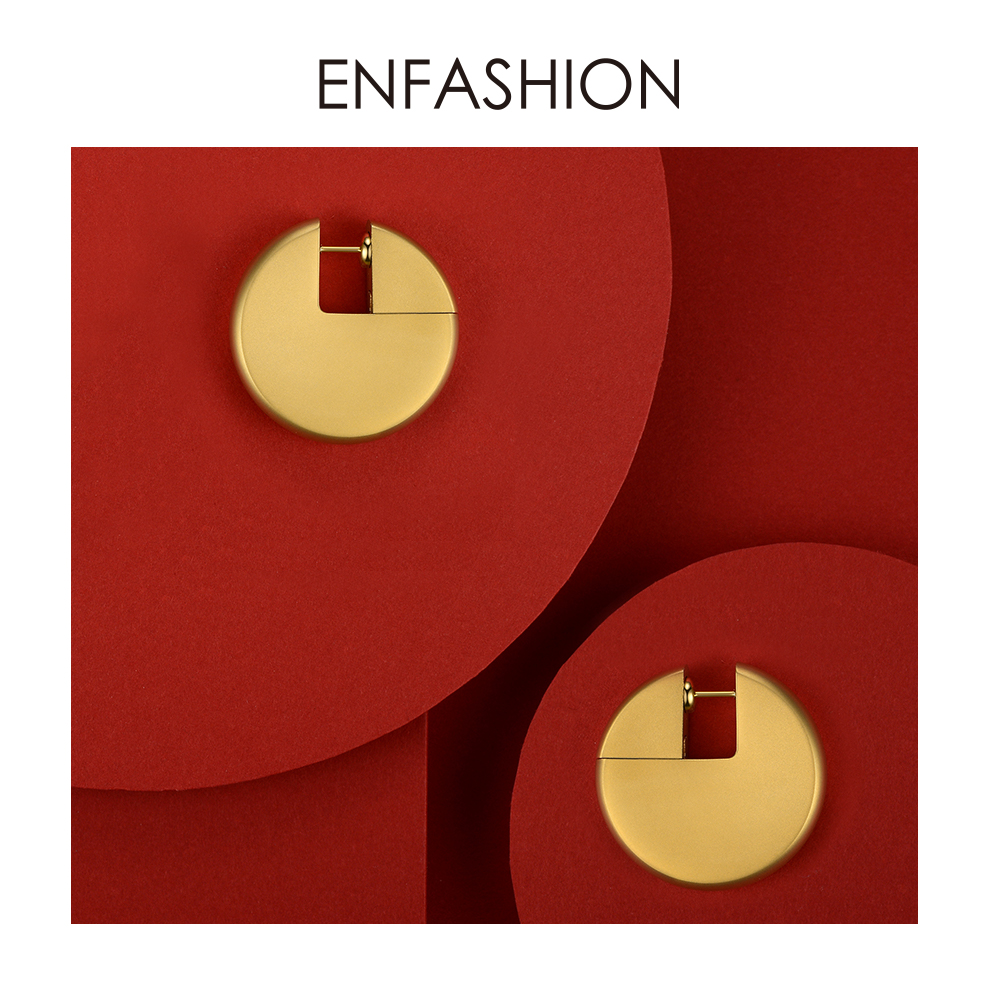 Image 2 - Enfashion Discos Drop Earrings For Women Gold Color Big Circle  Statement Stainless Steel  Earings Fashion Jewelry Oorbellen 1053Drop  Earrings