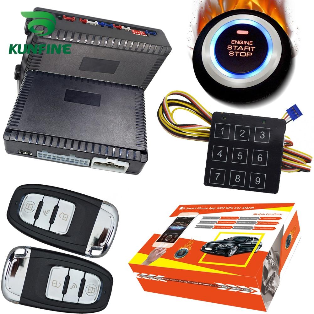 KUNFINE intelligent sécurité voiture alarme passif sans clé entrée automatique verrouillage Central bouton poussoir voiture moteur démarrage arrêt compatible 1100AN