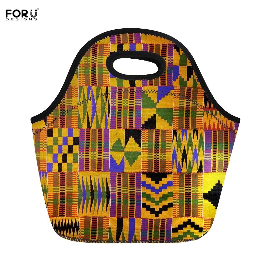 Genossenschaft Forudesigns Mittagessen Griff Totes Vintage Afrikanischen Traditionellen Portable Picknick Taschen Für Kinder Frauen Handtasche Schule Thermotaschen
