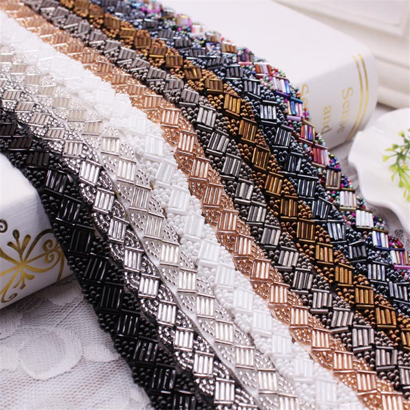 1Yard/Lot Pearl Beaded Lace Trim Mesh Lace Ribbon Fabric Clothes Decoration Wedding Dress Collar Sleeve Lace Applique DIY Crafts