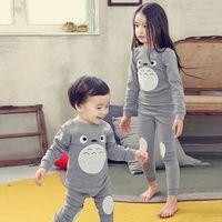 Crianças Roupas de verão Crianças Conjunto de Roupas Meninos Pijama Define Totoro Estilo Roupa Imprimir Pijamas Meninas Pijamas Bebê Pijama
