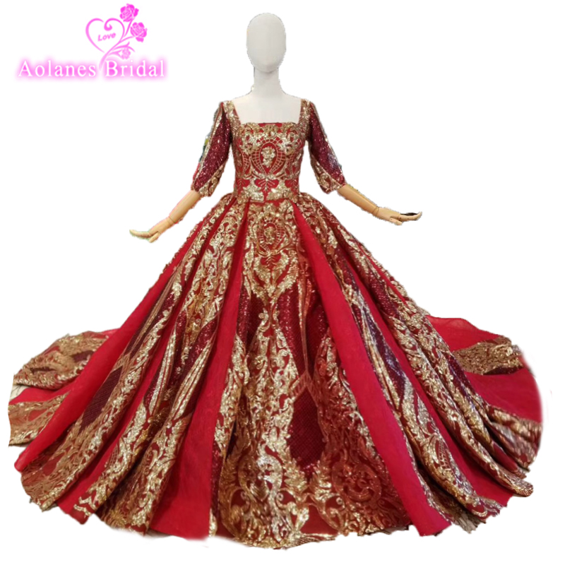 b3d71cbccb0 Long Sleeves Red Gold Lace Long Train Arabic Wedding Dresses Muslim Wedding  Bride Gown Real Photos 2019 New Design Bridal Dress