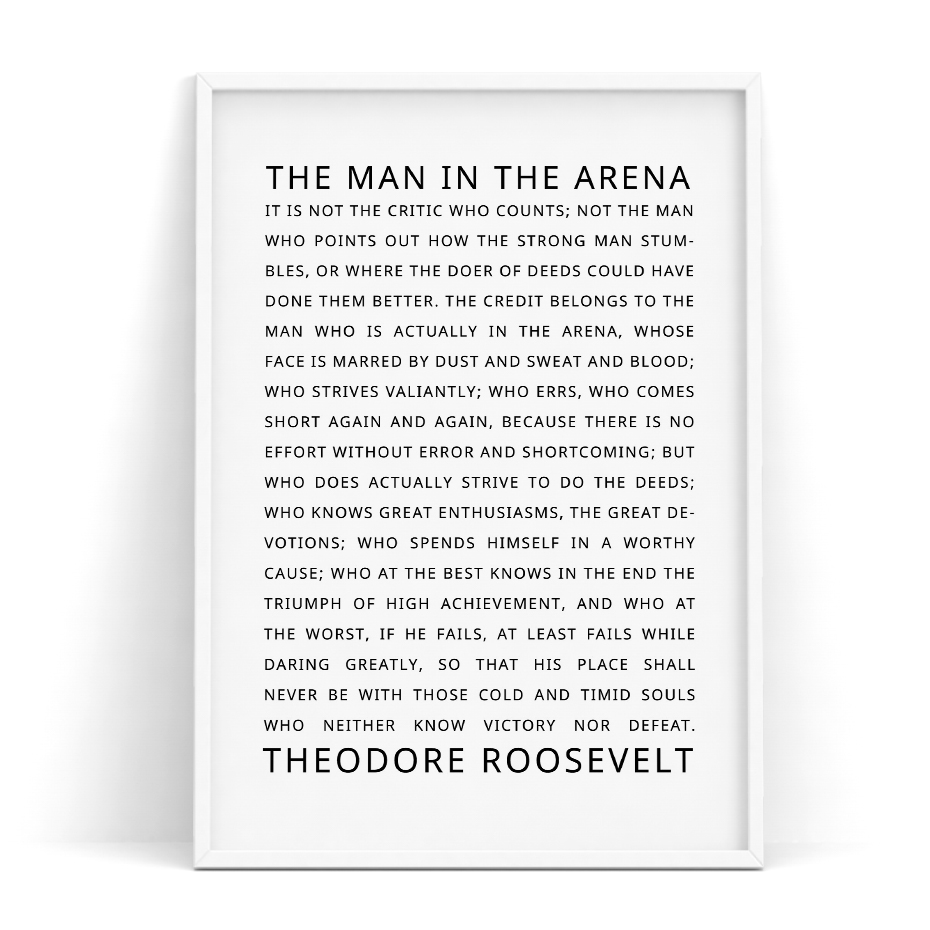 Quotes Posters and Prints The Man in the Arena Motivational Inspirational Quotes Office Decor Dorm Daring Greatly Home Decor image