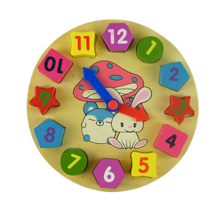 Wooden Toy Digital Geometry Clock Wooden Blocks Toys Children Educational Toy Novelty Chidren Gifts Wooden Toy