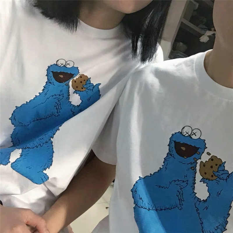 Sesame Street Cartoon Childlike Funny Print Short Sleeve T Shirt Women Tshirt Oversize Couple O-Neck Tops Tees