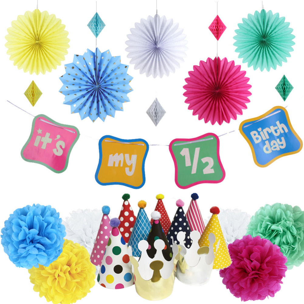 18pcs 6 months Rainbow Birthday Party Shimmering Sign Its My 1/2 Birthday Banner Half Birthday Party Hats Honeycomb Party Decor
