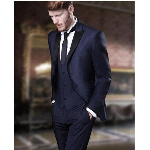 Haute qualité Hommes Costumes Custom Made Bleu Marine Formelle costumes  D affaires Costumes de mariage 1b306c875a7