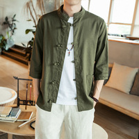 Fashion Men Shirt Long Sleeve Cotton Linen Chinese Style Casual Basic Shirt Men Tops Leisure Fitness Pullovers Camisa Clothes