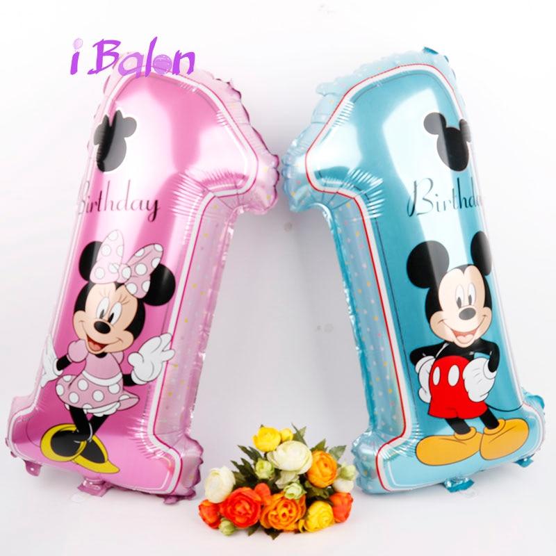 Mickey Minnie Nombre foil ballons 50 pc bébé 1 année d'anniversaire partie deacorations enfants cadeaux mickey thème numérique balões fournitures