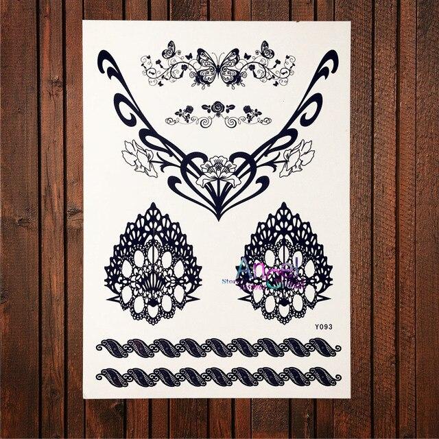 Black Henna Butterfly Waterproof Fake Tattoo Stickers Women Jewelry