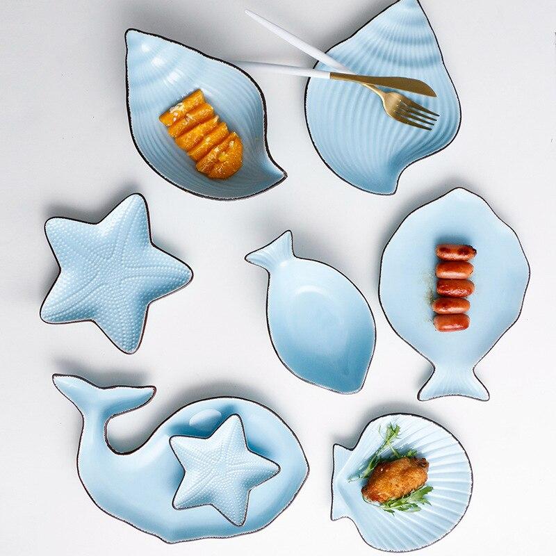 Zestaw 7 ceramiczne Ocean styl płyta ryby powłoki danie rozgwiazda danie trąbka powłoki miska niebieski biały porcelany obiadowy AKUHOME w Naczynia i talerze od Dom i ogród na  Grupa 3