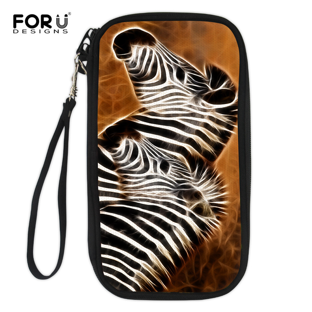 FORUDESIGNS Ladies Zebra Wallet Travel Long Wallet Purse Multifunction Ladies Card Holder With Phone Pocker Zipper Carteira Lady