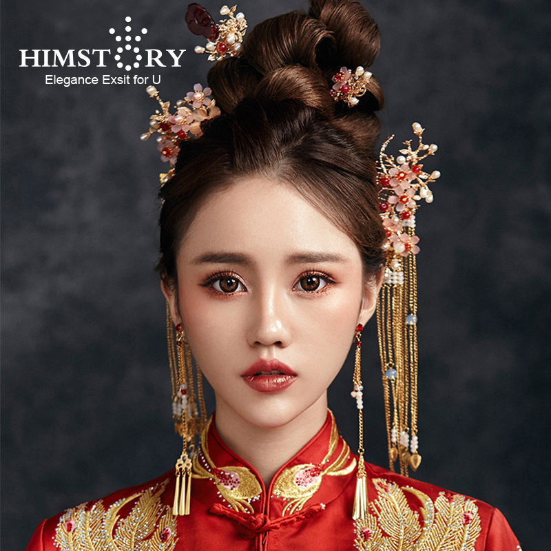 HIMSTORY Traditional Chinese Bride Headdress Costume Hairclips Floral Hairpin Wedding Hairwear photography Hair Stick Accessory 03 red gold bride wedding hair tiaras ancient chinese empress hat bride hair piece