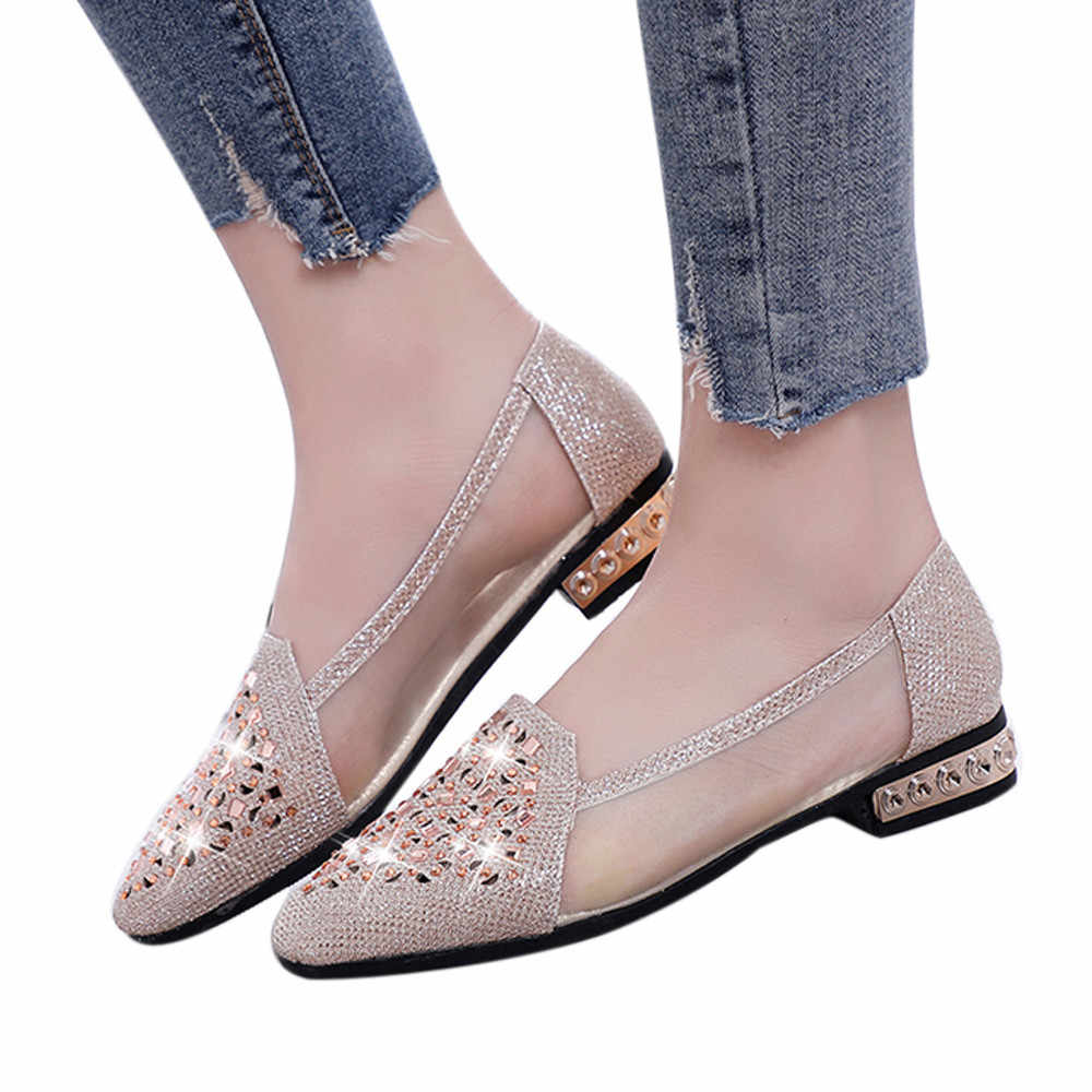 2c8afe31240 YOUYEDIAN 2019 new african Women Shoes Ballet With Low Heel Metal Pointed  Toe Hollow Out Shoes