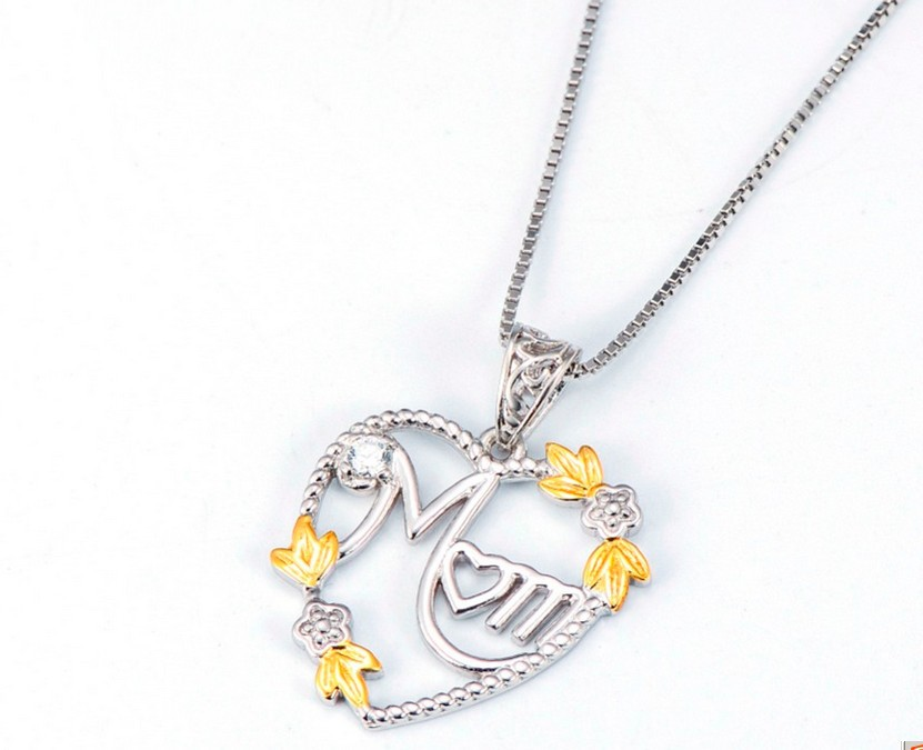 925 Sterling Silver Heart MOM Pendant Long Chain Statement Choker Necklace for Women Fashion Jewelry Best Mother's Day Gift 2019 4