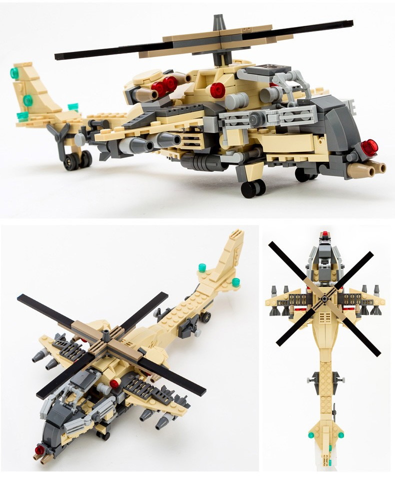 Models Building Toy 8007 Military Equipment Helicopter Army 679pcs