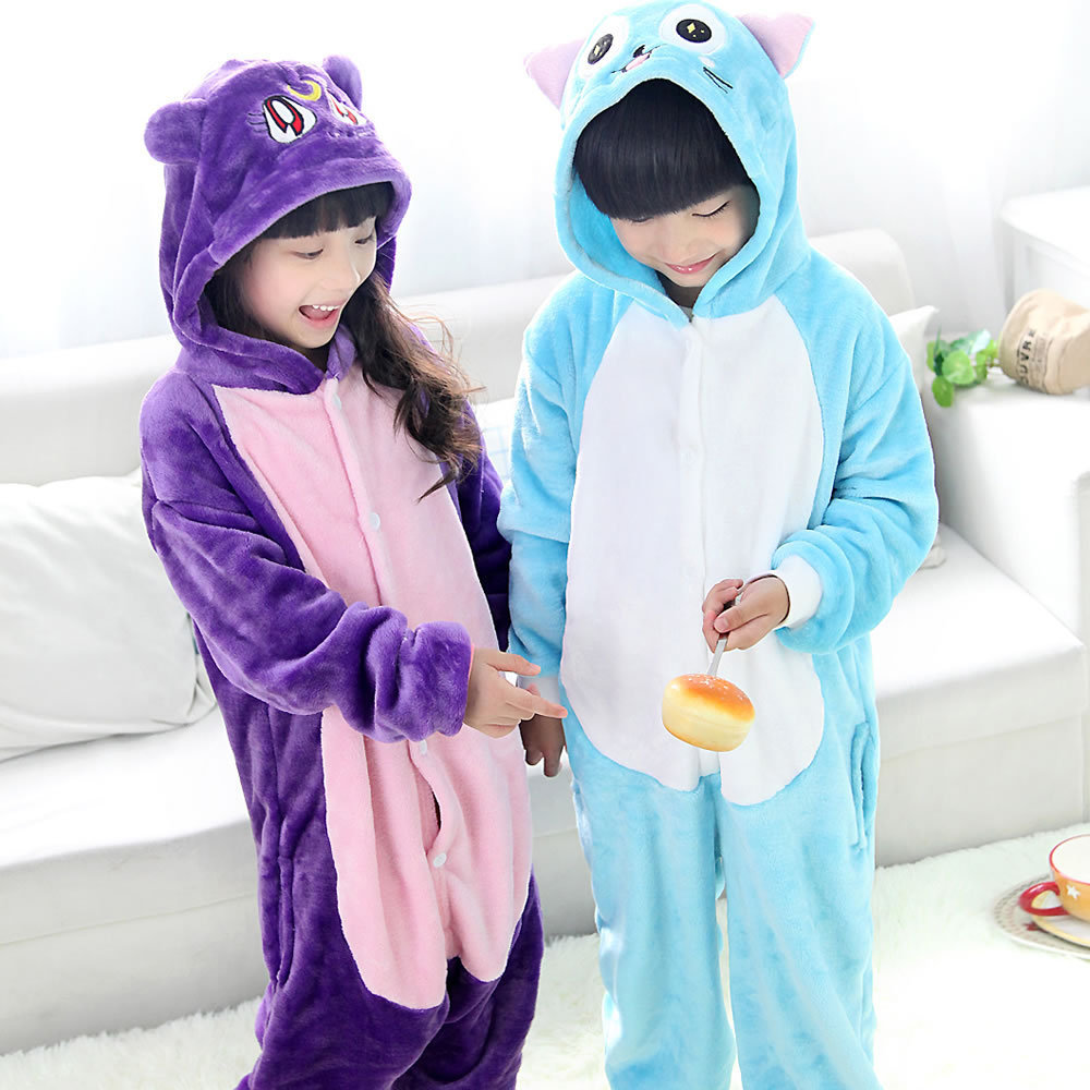 New Children Halloween Costume Kids Boys Anime Sailor Moon Cosplay Costume Girls Luna Cat Onesies Pajamas Cartoon Animal Pyjamas In Boys Costumes From