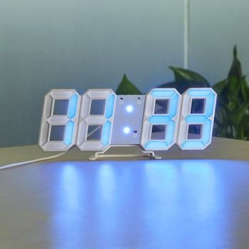 3D USB LED Digital Wall Clock Electronic Desk Table Desktop Alarm Clock 12/24 Hours Display Home Decoration Wake up night lights 13